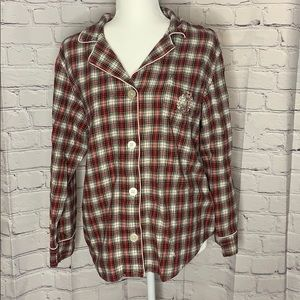 Ralph Lauren red plaid long sleeve pajama top XL